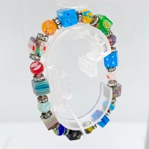 Multicolor Glass Blown Bracelet NWT